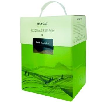 Вино Bostavan Muscat белое полусладкое bag in box 3л - купить, цены на Метро - фото 1