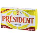 Масло сливочное President 82% 125г