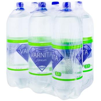 Вода минеральная газированная Varnita Unicum ПЭТ 6x2,5л - купить, цены на Метро - фото 1