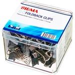 Clip metal Sigma Negru 19mm 80buc