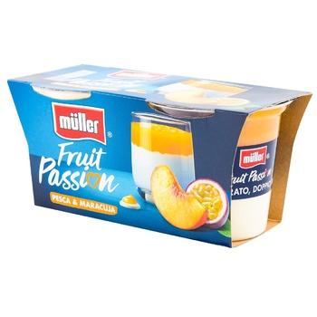 Йогурт Fruit Passion Muller Персики/Маракуйя 2шт х 125г - купить, цены на Метро - фото 1
