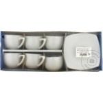 Set cafea portelan alb 100ml 6buc