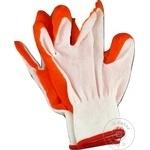 Перчатки рабочие синтетические прорезиновые оранжевые